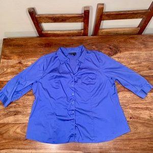 Lane Bryant Blue 3/4 sleeve button down top